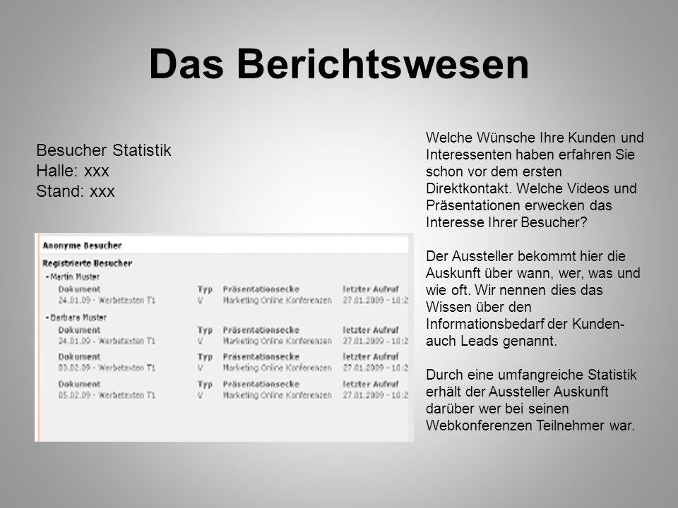 Das Berichtswesen Besucher Statistik Halle: xxx Stand: xxx
