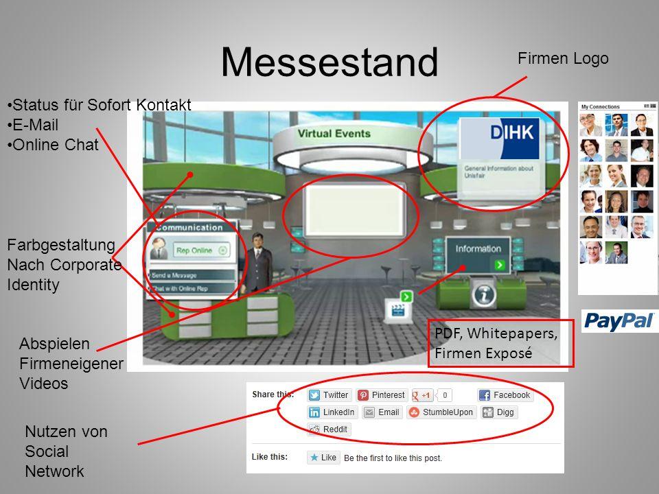 Messestand Firmen Logo Status für Sofort Kontakt E-Mail Online Chat