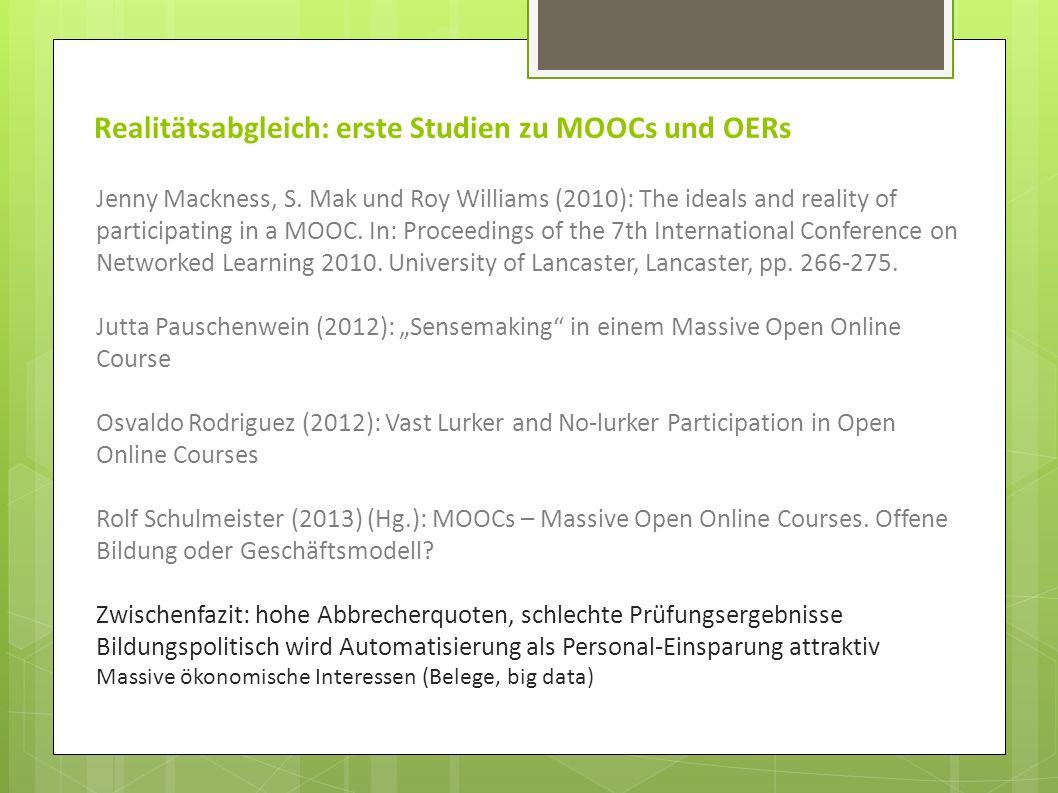 Realitätsabgleich: erste Studien zu MOOCs und OERs