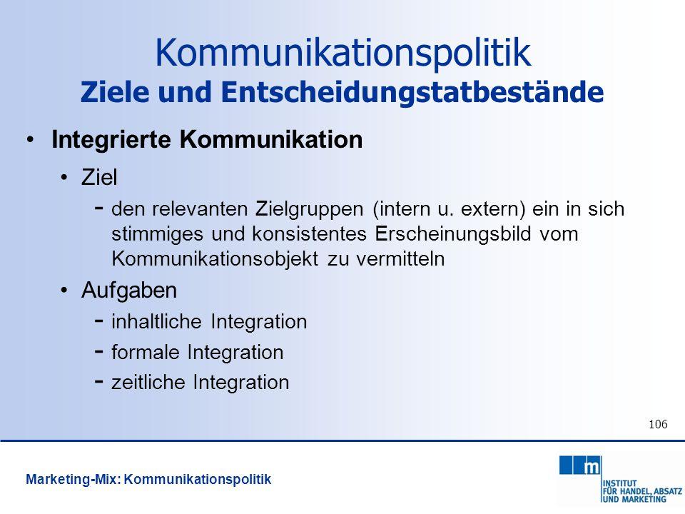 Kommunikationspolitik Ziele und Entscheidungstatbestände