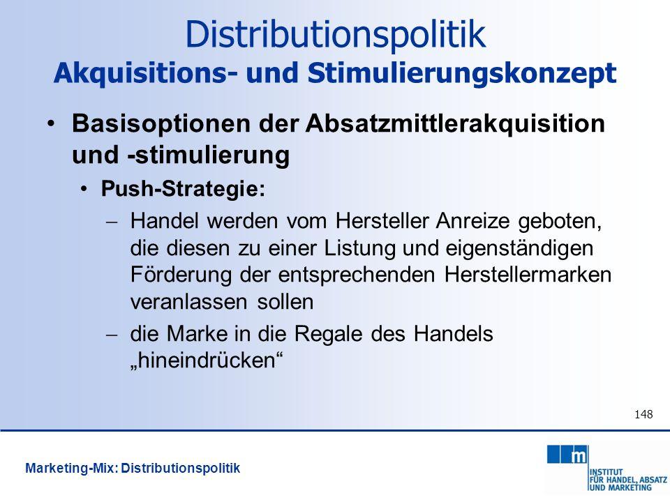 Distributionspolitik Akquisitions- und Stimulierungskonzept