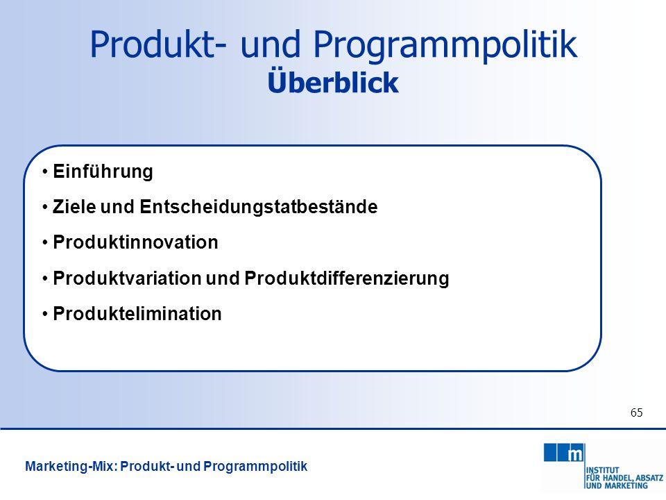 Produkt- und Programmpolitik Überblick