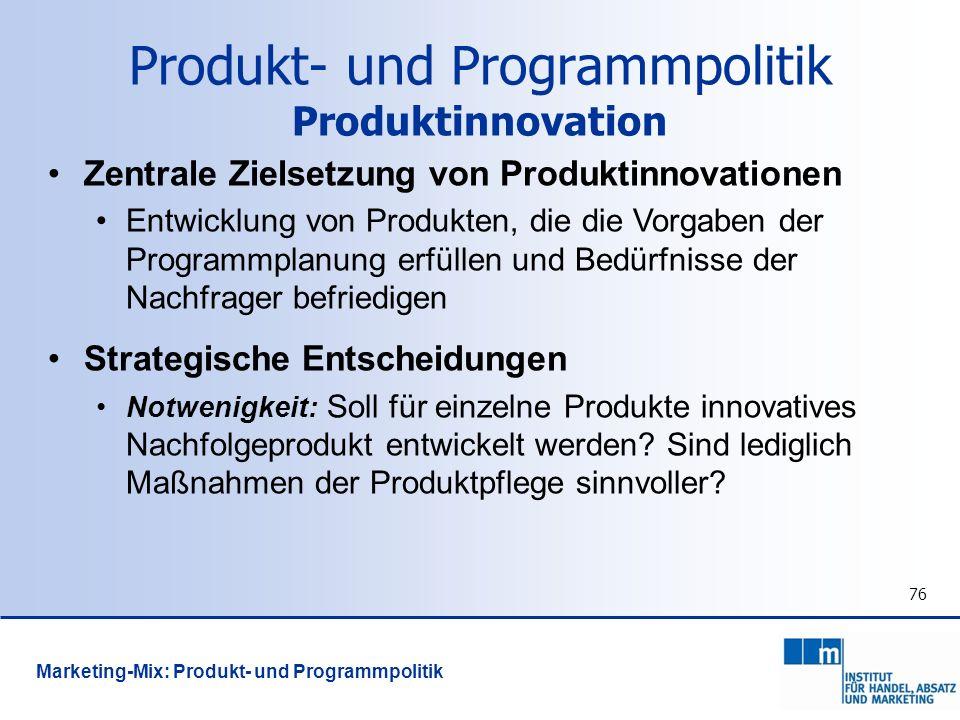 Produkt- und Programmpolitik Produktinnovation
