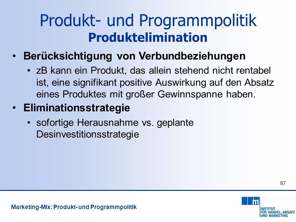 Produkt- und Programmpolitik Produktelimination