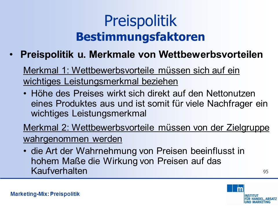 Preispolitik Bestimmungsfaktoren