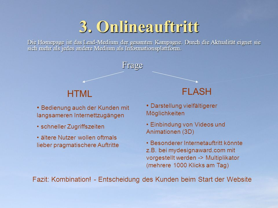 3. Onlineauftritt HTML FLASH Darstellung vielfältigerer Möglichkeiten