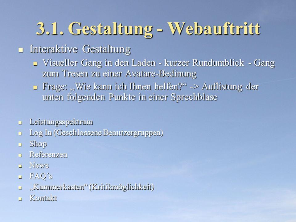 3.1. Gestaltung - Webauftritt