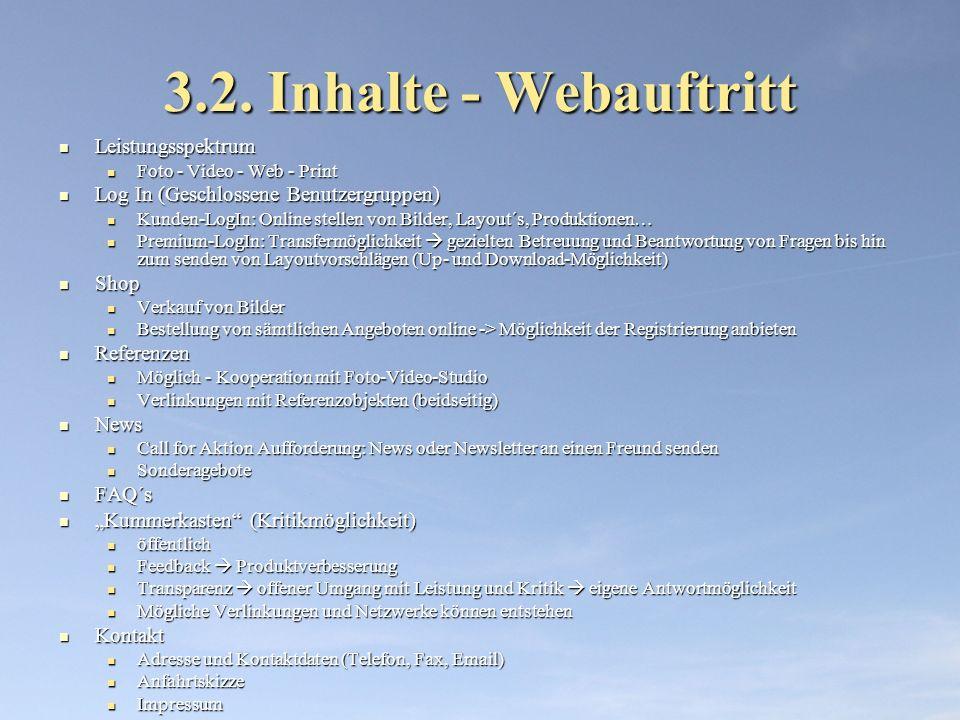 3.2. Inhalte - Webauftritt Leistungsspektrum