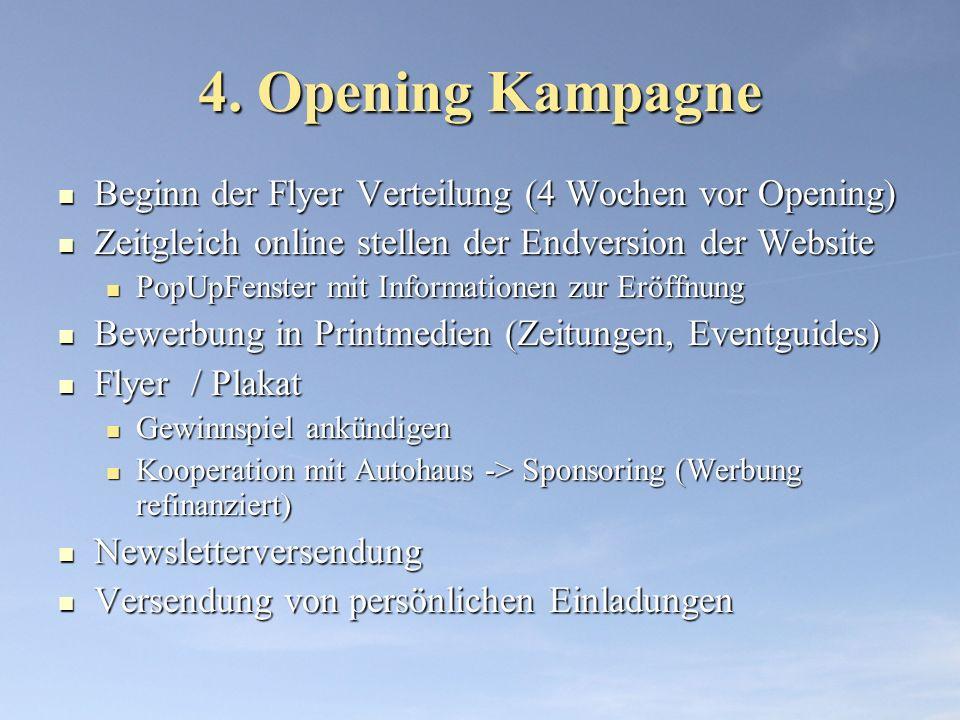 4. Opening Kampagne Beginn der Flyer Verteilung (4 Wochen vor Opening)