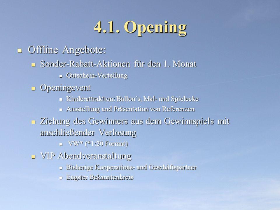 4.1. Opening Offline Angebote: Sonder-Rabatt-Aktionen für den 1. Monat