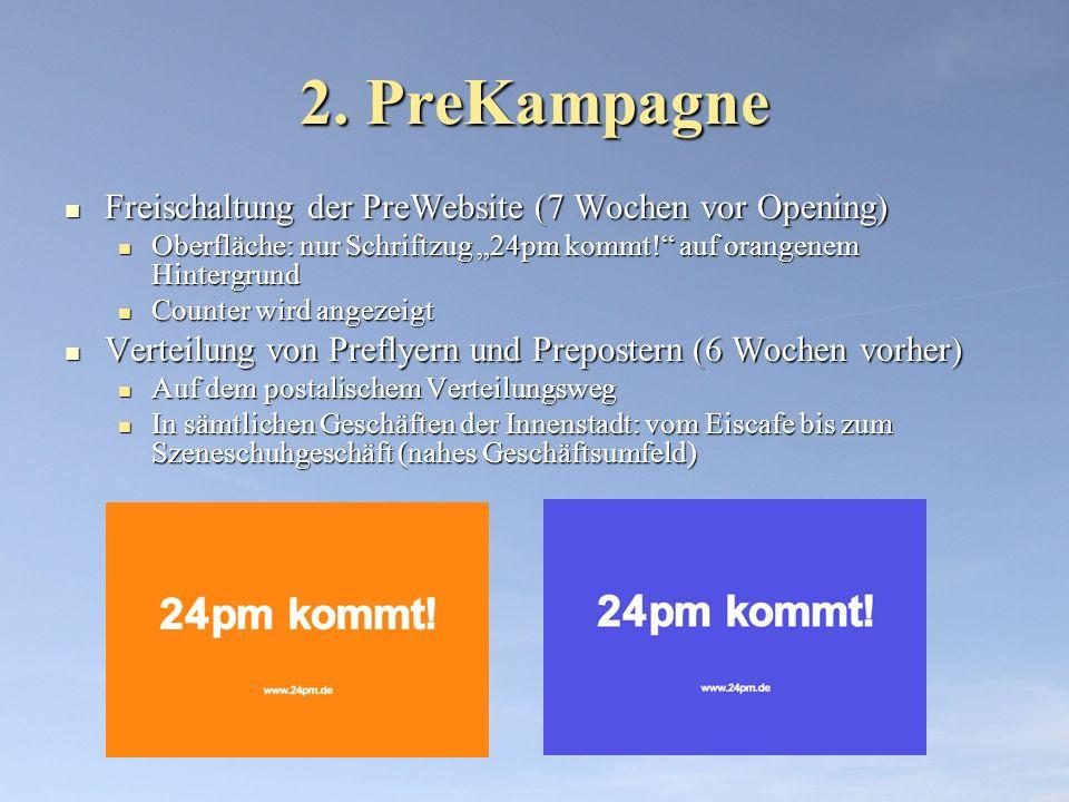 2. PreKampagne Freischaltung der PreWebsite (7 Wochen vor Opening)