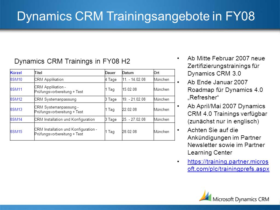 Dynamics CRM Trainingsangebote in FY08