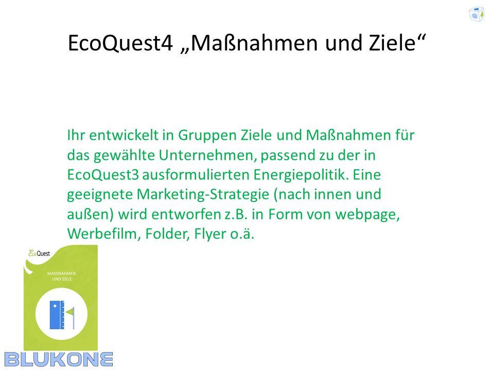 """EcoQuest4 """"Maßnahmen und Ziele"""