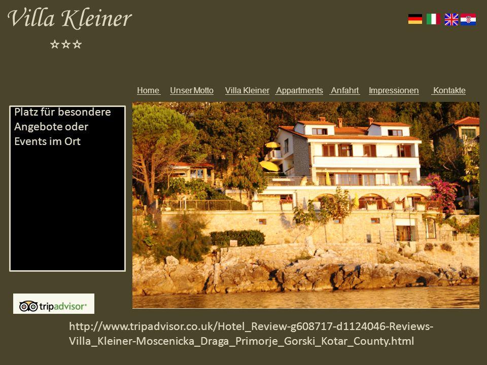 Villa Kleiner *** Platz für besondere Angebote oder Events im Ort