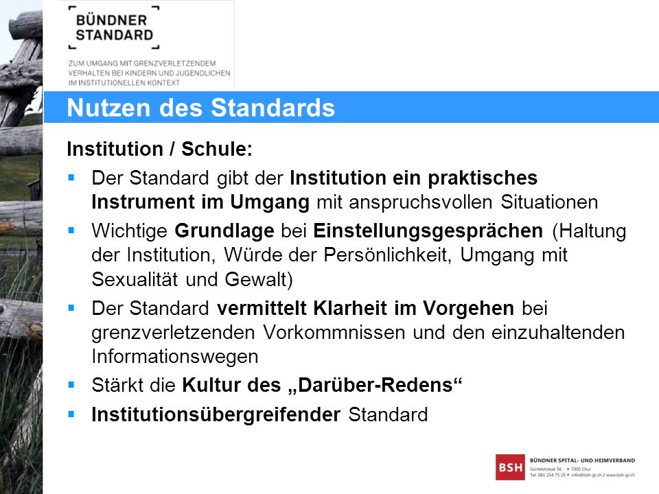 Nutzen des Standards Institution / Schule: