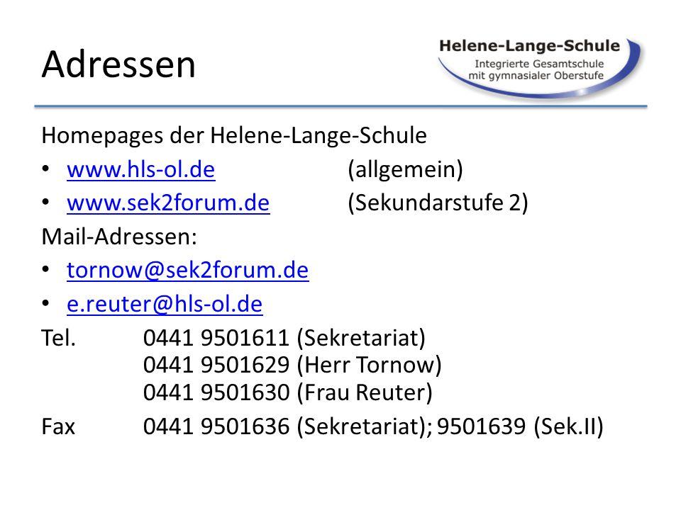 Adressen Homepages der Helene-Lange-Schule www.hls-ol.de (allgemein)