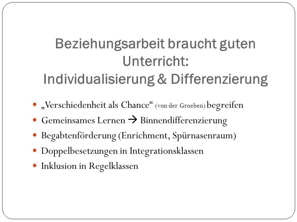 Beziehungsarbeit braucht guten Unterricht: Individualisierung & Differenzierung