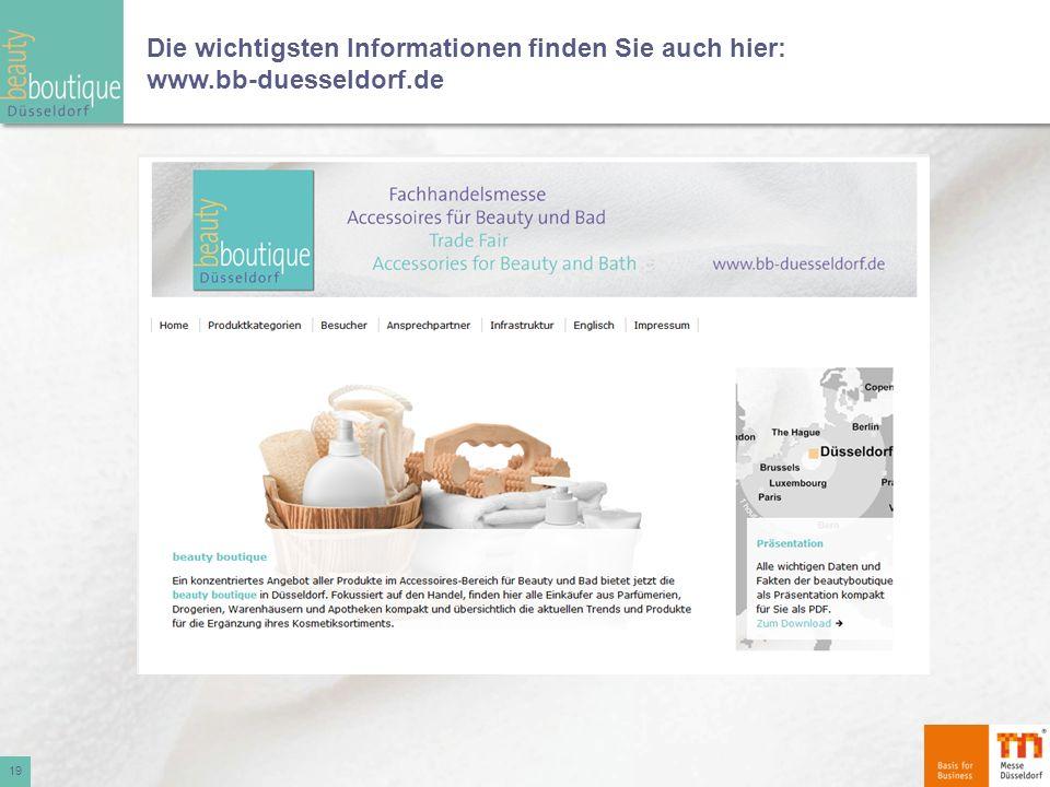 Die wichtigsten Informationen finden Sie auch hier: www.bb-duesseldorf.de
