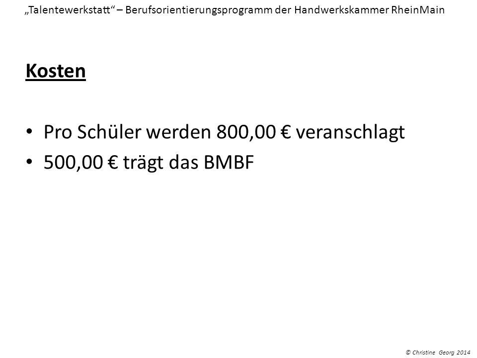 Pro Schüler werden 800,00 € veranschlagt 500,00 € trägt das BMBF