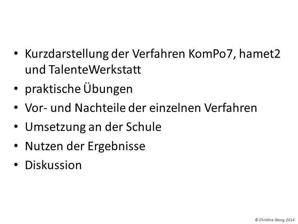 Kurzdarstellung der Verfahren KomPo7, hamet2 und TalenteWerkstatt