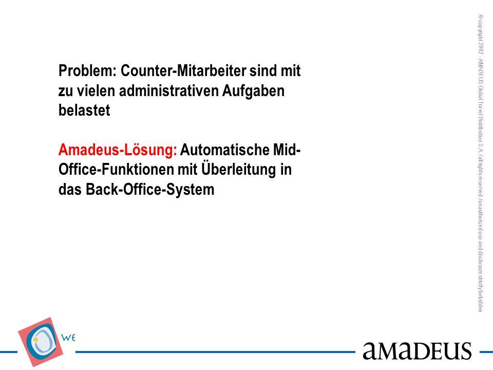 Problem: Counter-Mitarbeiter sind mit zu vielen administrativen Aufgaben belastet Amadeus-Lösung: Automatische Mid-Office-Funktionen mit Überleitung in das Back-Office-System