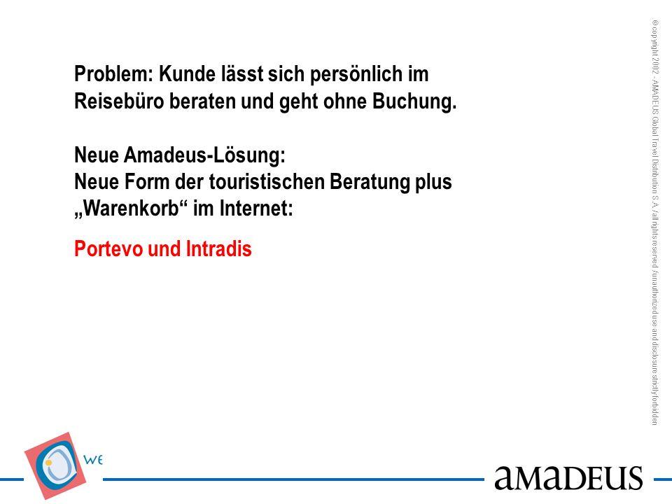 """Problem: Kunde lässt sich persönlich im Reisebüro beraten und geht ohne Buchung. Neue Amadeus-Lösung: Neue Form der touristischen Beratung plus """"Warenkorb im Internet:"""