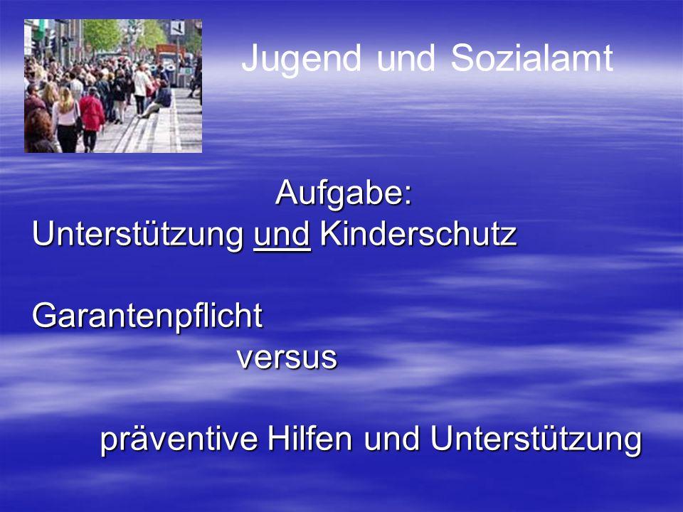 Jugend und Sozialamt Aufgabe: Unterstützung und Kinderschutz