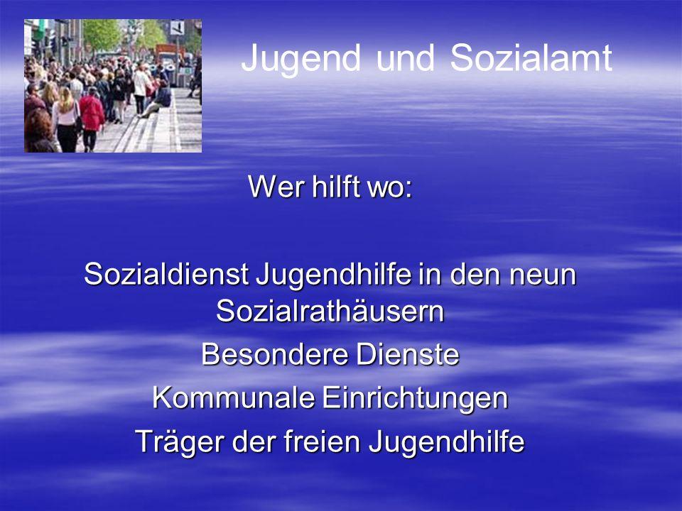 Jugend und Sozialamt Wer hilft wo: