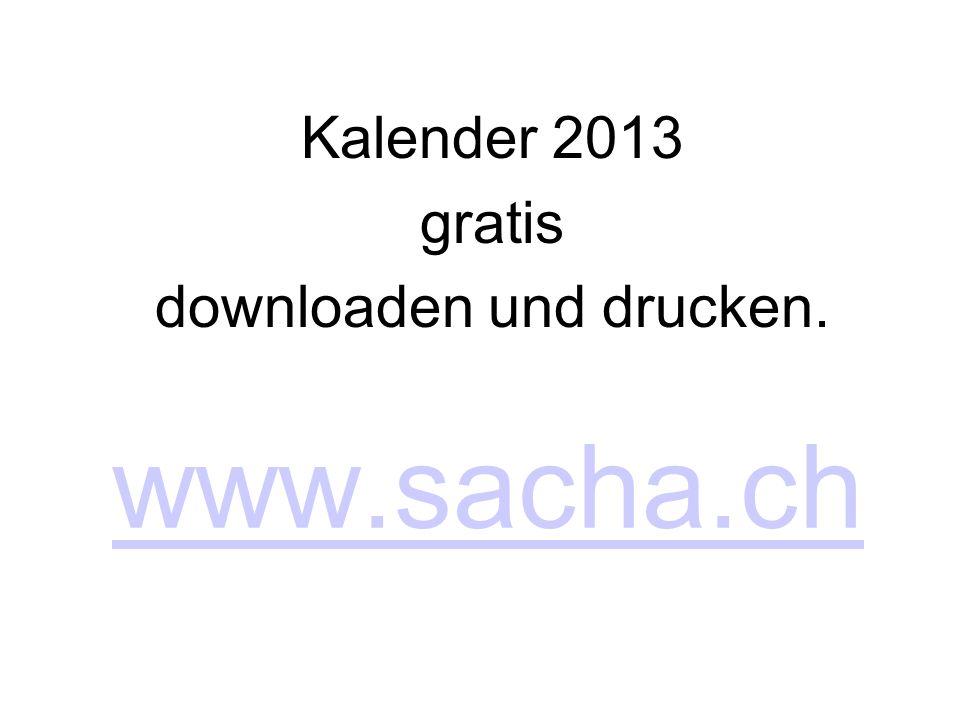 Kalender 2013 gratis downloaden und drucken.
