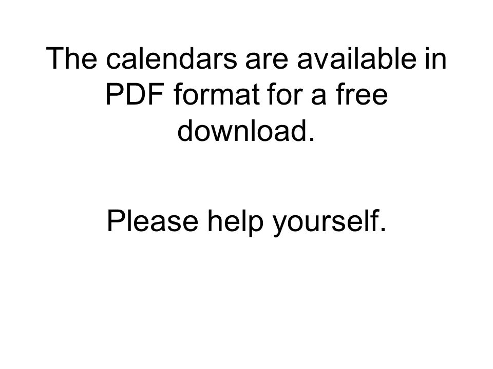 The calendars are available in PDF format for a free download.