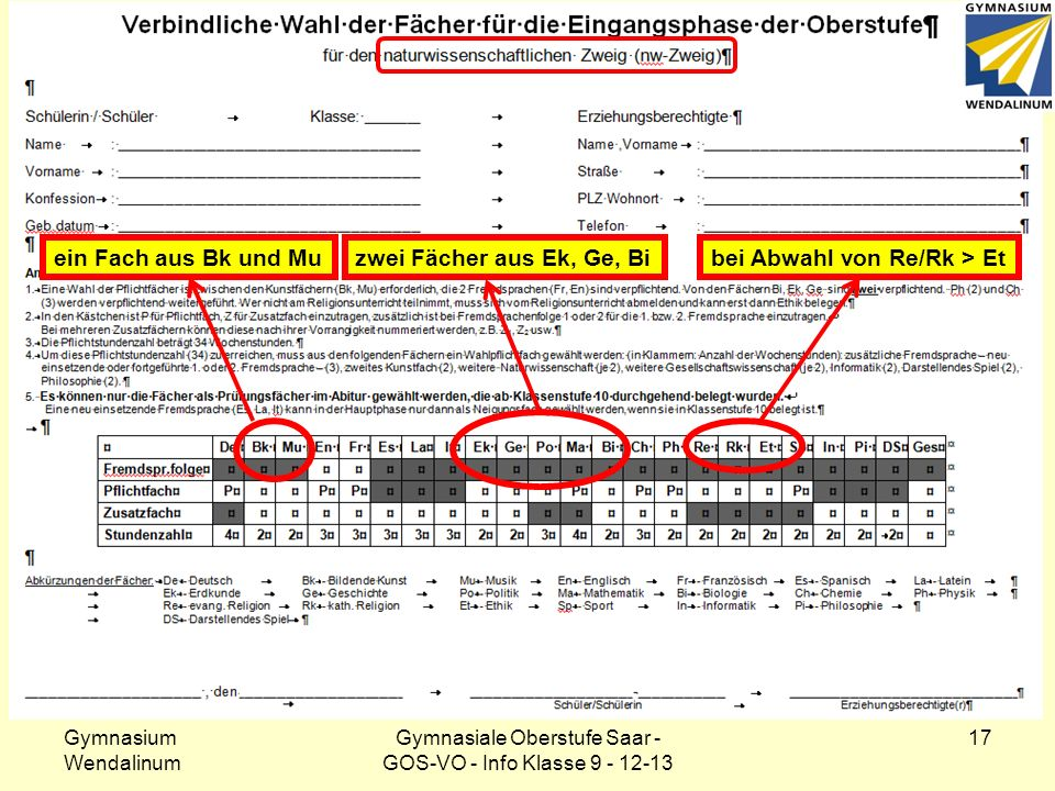Klasse 9: Wahlformular – nw-Zweig