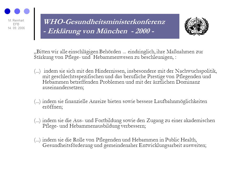 WHO-Gesundheitsministerkonferenz - Erklärung von München - 2000 -