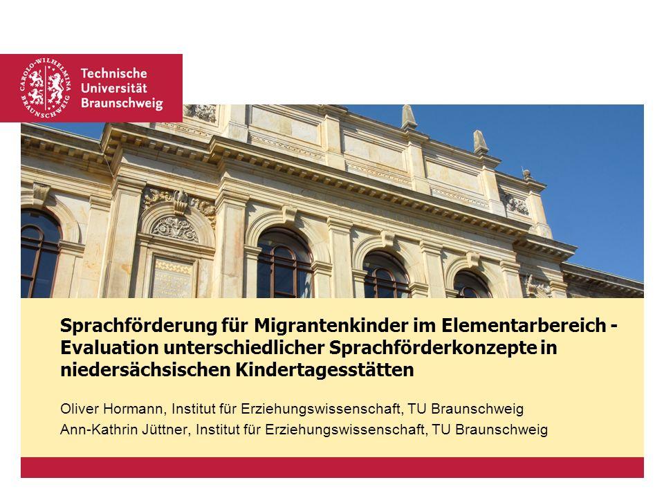 Sprachförderung für Migrantenkinder im Elementarbereich - Evaluation unterschiedlicher Sprachförderkonzepte in niedersächsischen Kindertagesstätten