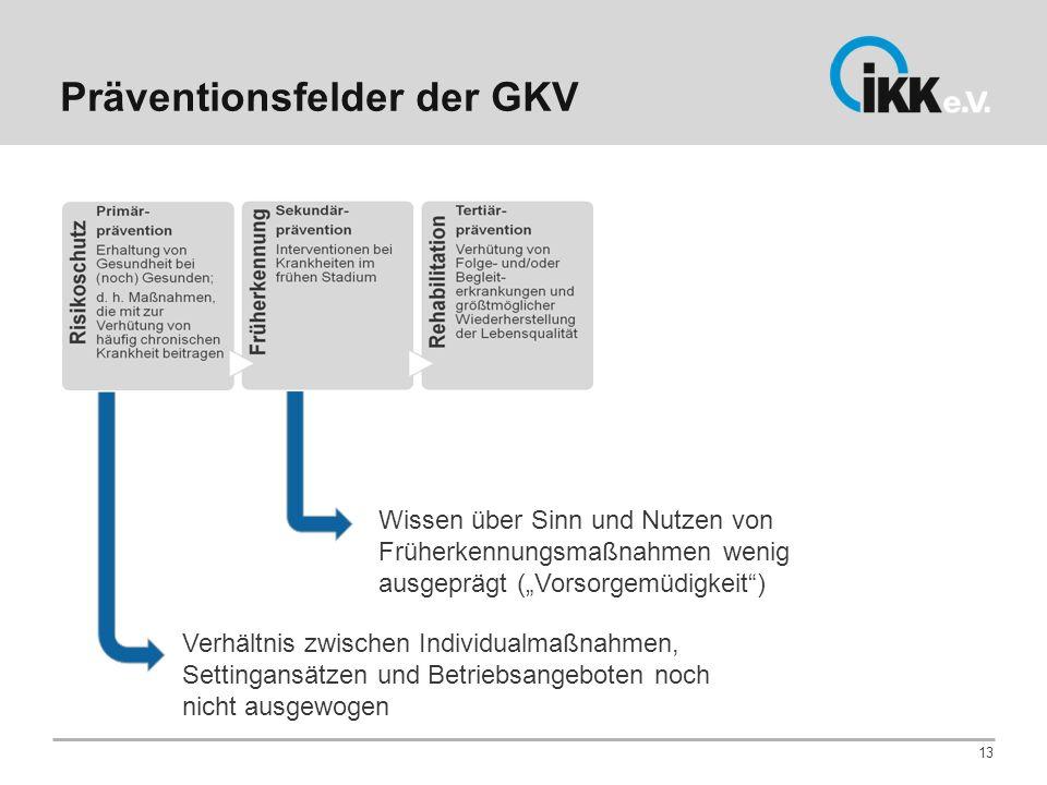 Präventionsfelder der GKV