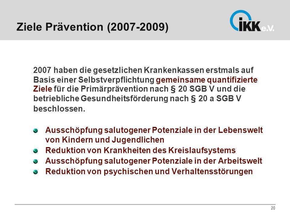 Ziele Prävention (2007-2009)