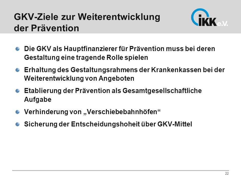 GKV-Ziele zur Weiterentwicklung der Prävention