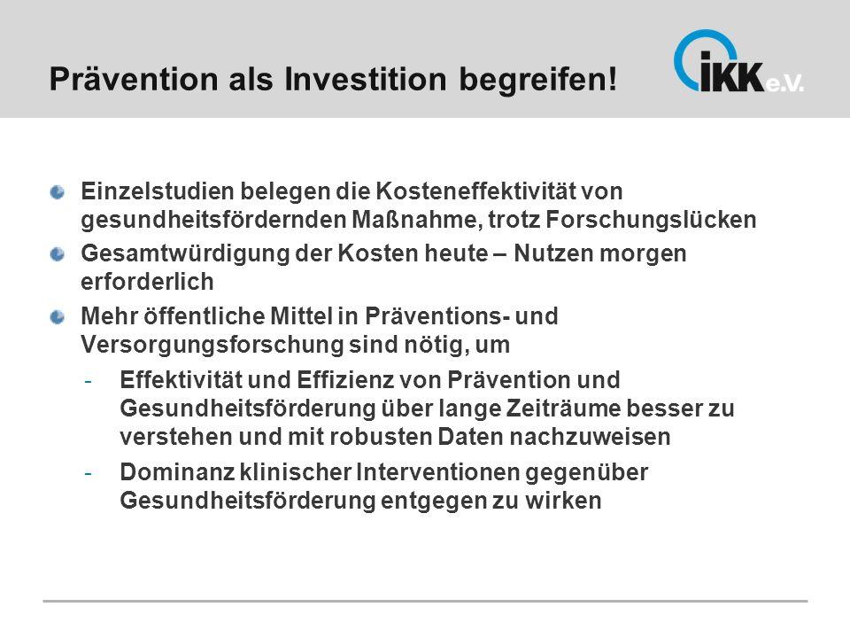 Prävention als Investition begreifen!