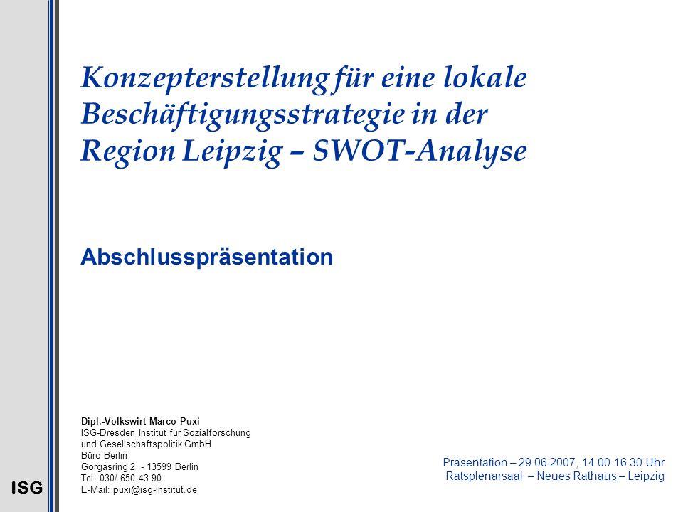 Konzepterstellung für eine lokale Beschäftigungsstrategie in der Region Leipzig – SWOT-Analyse