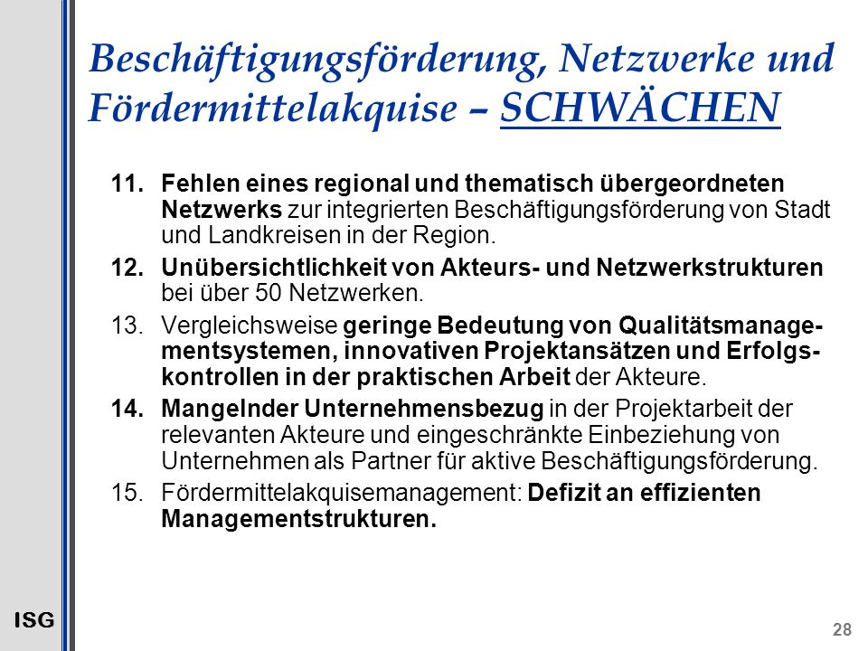 Beschäftigungsförderung, Netzwerke und Fördermittelakquise – SCHWÄCHEN