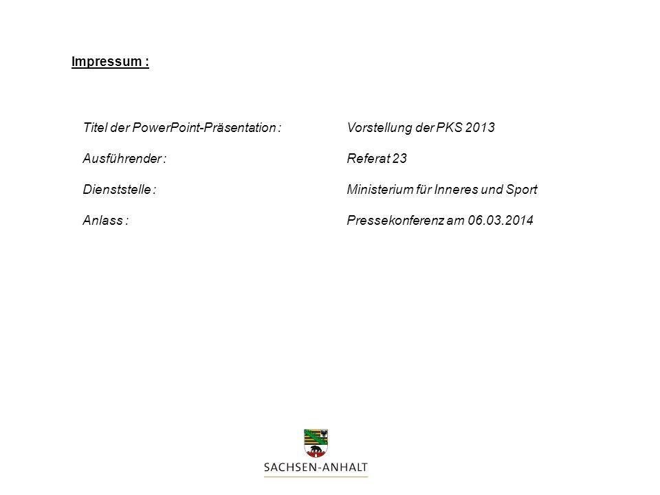 Impressum : Titel der PowerPoint-Präsentation : Vorstellung der PKS 2013. Ausführender : Referat 23.