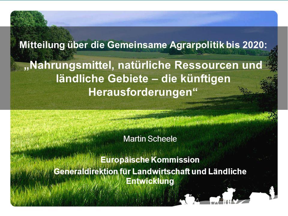 """Mitteilung über die Gemeinsame Agrarpolitik bis 2020: """"Nahrungsmittel, natürliche Ressourcen und ländliche Gebiete – die künftigen Herausforderungen"""