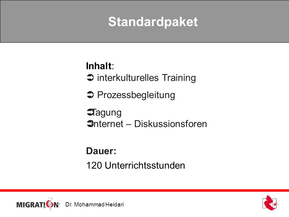 Standardpaket Inhalt:  interkulturelles Training  Prozessbegleitung