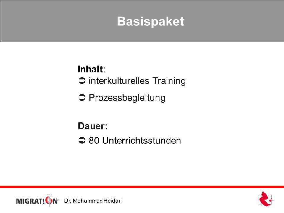 Basispaket Inhalt:  interkulturelles Training  Prozessbegleitung