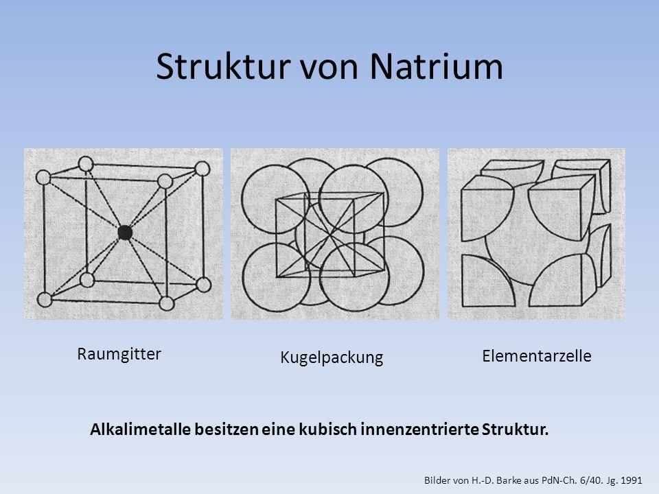 Alkalimetalle besitzen eine kubisch innenzentrierte Struktur.