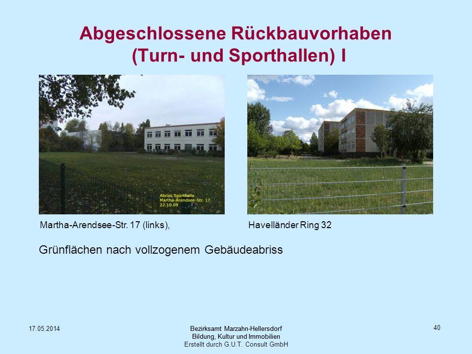 Abgeschlossene Rückbauvorhaben (Turn- und Sporthallen) I