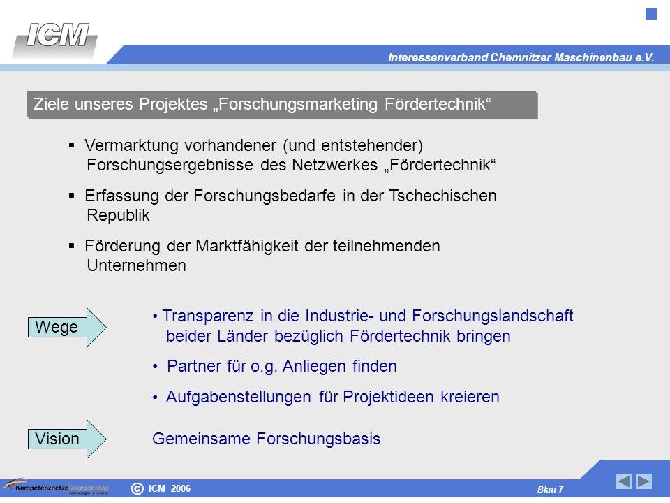 "Ziele unseres Projektes ""Forschungsmarketing Fördertechnik"