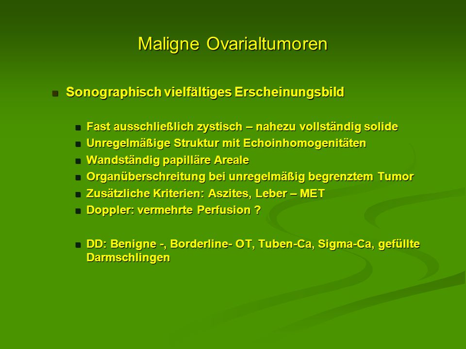Maligne Ovarialtumoren