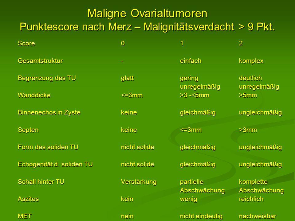 Maligne Ovarialtumoren Punktescore nach Merz – Malignitätsverdacht > 9 Pkt.