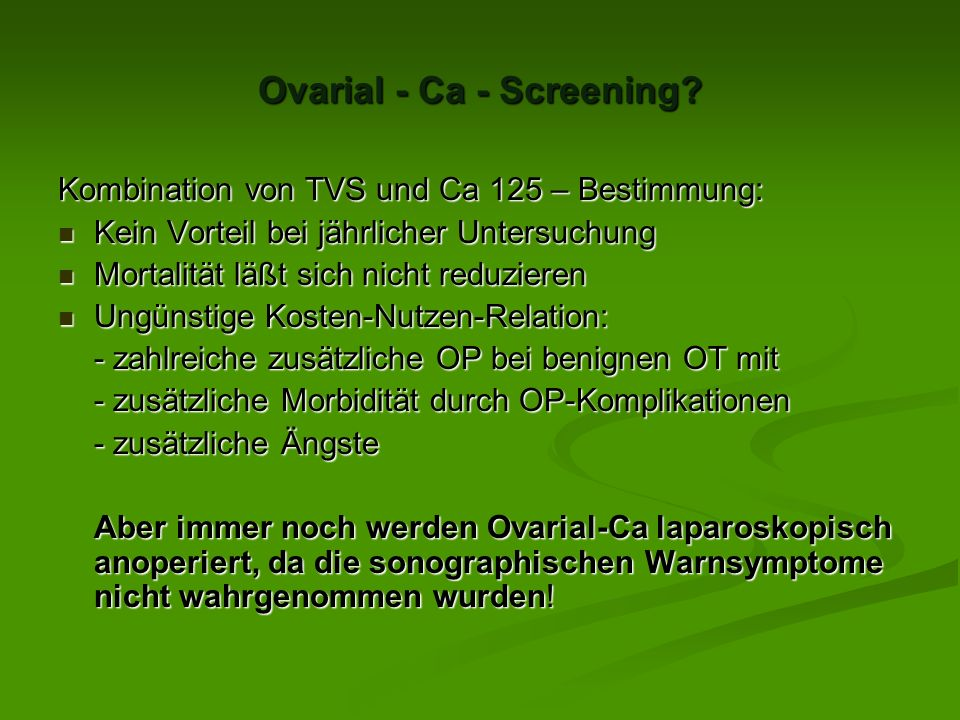 Ovarial - Ca - Screening