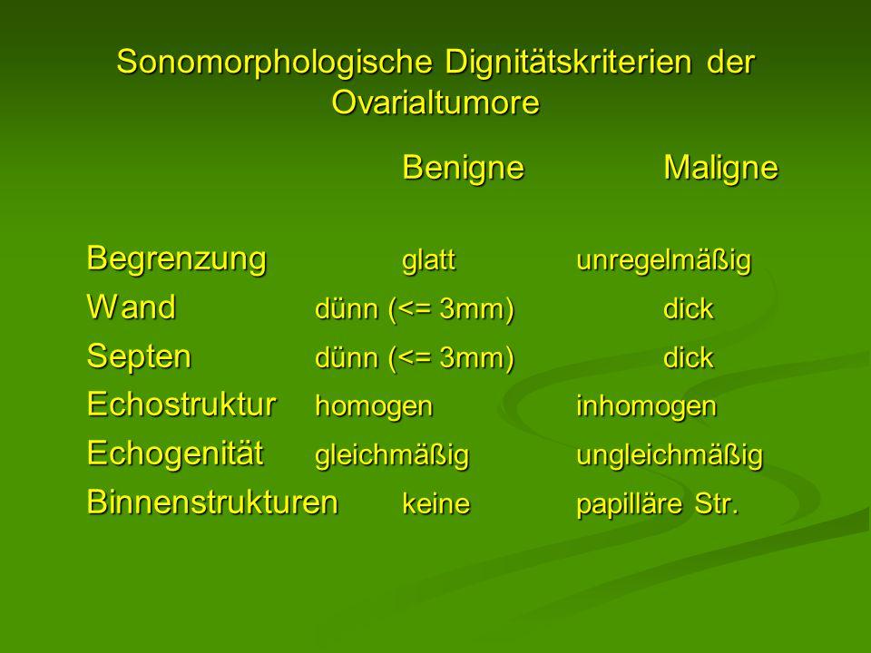 Sonomorphologische Dignitätskriterien der Ovarialtumore